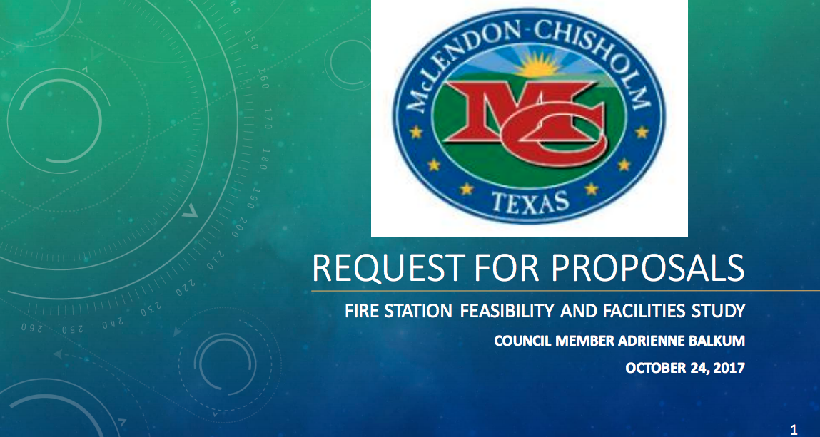 Request For Proposal For Fire Department Case Study Presented By Council Member Balkum