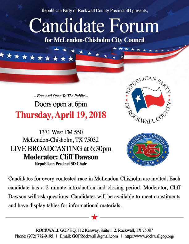 McLendon-Chisholm Candidate Forum