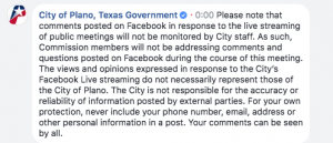 City of Plano, TX Comment During Broadcast
