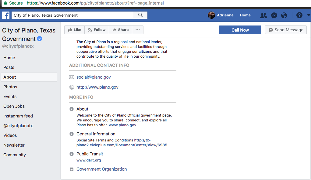 City of Plano FB Page Policy
